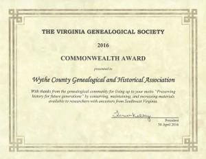 VGS Award Certificate